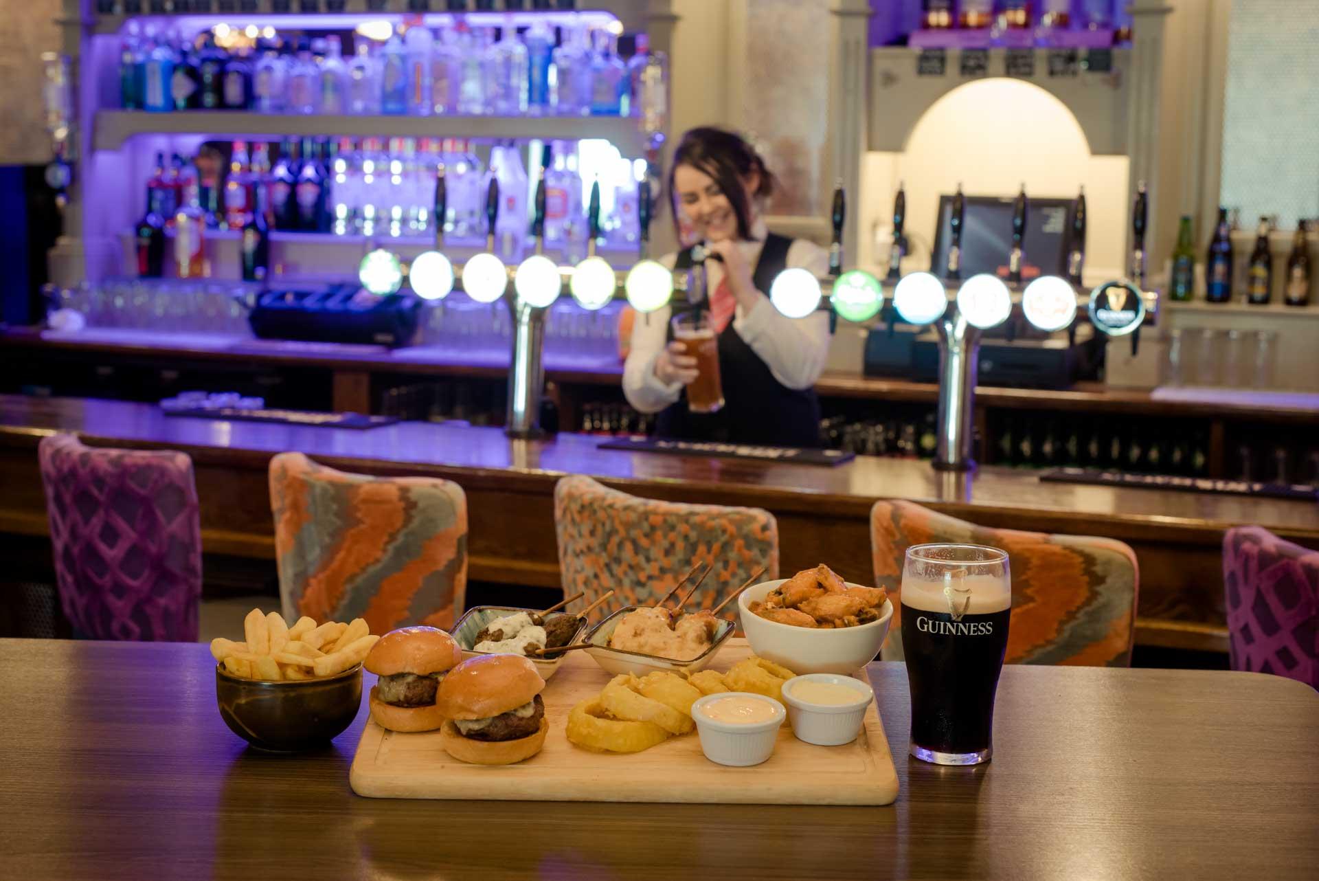 Woodford Dolmen Hotel Carlow Platter Food with Bartender