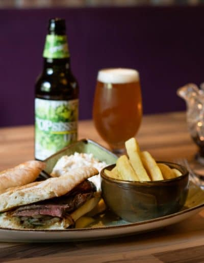 Woodford Dolmen Hotel Carlow Steak Sandwich With Beer